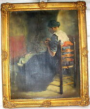 Ölgemälde Prunkrahmen Gold signiert Jan Hermanus Melcher-Tilmes Niederlande 1874