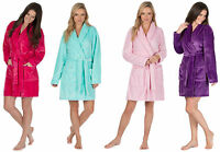 Ladies Plain Summer Length Shawl Collar Fleece Dressing Gown / Robe. Small - 4XL