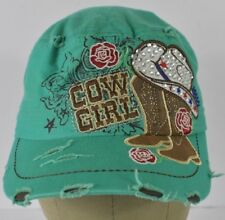 Green Cow Girl Boots Bedazzled Rose Embroidered Cadet Hat Cap Adjustable Strap