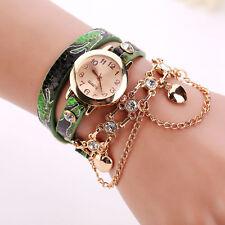 2017 Women Fashion Bracelet Rhinestone Rivet Leather Strap Quartz Watches