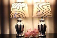 2 Lampen weiß silber Nachttischlampe  Keramik Tischlampe Tischleuchte