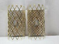 Pair Vintage Antique Schonbek Gold Tone Art Deco Sconce Light Lamp Fixture Metal