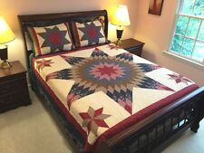 COUNTRY PRAIRIE STAR 3pc ** King ** QUILT SET : COTTON 8 POINT FLORAL FARMHOUSE
