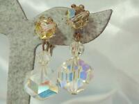 Vintage 70's XX Sparkly Crystal Dangle Adjustable Screw Back Clip Earrings 601f1