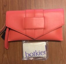 Botkier Chelsea Clutch Purse GRAPEFRUIT Pink Coral Orange Leather w Dust Bag NWT