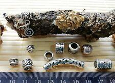 10 Silver Tone Beard Rings Viking Celtic Pagan Mix Dreadlock Dread & Large Beads