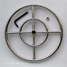 "15"" Ss Fire Pit Ring Burner Fireplace Gas Logs Fire Glass"