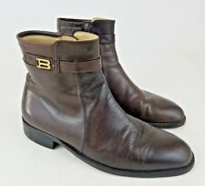 Bally Men's Brown Italian Leather Side Zip Ankle Boots Men's Size 8.5 Rudy