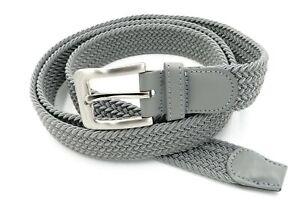 "Men's Golf Elastic 1 1/4"" Wide Premium Stretch Belt Buckle & Leather Light Gray"