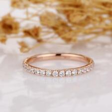Wedding Band Ring 14K Rose Gold Gp 1/5 Ct Round Cut Diamond Stack Full Eternity