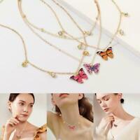 Schmetterling Anhänger Halskette bunte Strass Goldkette Choker Halskett ein X2D1