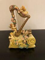 Kingspoint Designs Music Box - Harp w/Cherubs Somewhere in Time Item 9551