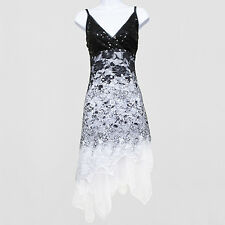New 1920s gatsby vintage flapper lace sequin black white party dress UK 8 to 20