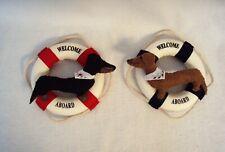 """Dachshund Felt Sculpture 5"""" pair Lifesaver Nautical Ring Welcome Aboard Wreath"""