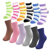(6 Pairs) Women's Fuzzy Crew Soft Socks Winter Warm Dots Stripes Solid Color