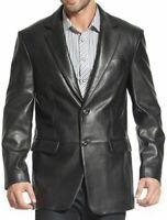 Mens Black Two Button Blazer Pea Coat Classic Lamb Real Soft Leather Jacket Coat