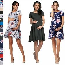 Happy Mama. Women's Swing Maternity Dress Short Sleeves Square Neck. 084p