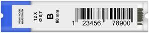 Koh-I-Noor 4162 Fine Graphite Leads - 0.7mm x 60mm (Tube of 12)
