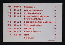 Affiche mai 68 CHRONOLOGIE Nanterre Sorbonne Flins Crs french poster 1968
