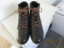 NewBlack Leather Josef Seibel Combat Ankle Boots 3 36 Eyelets Laces Trendy Cute