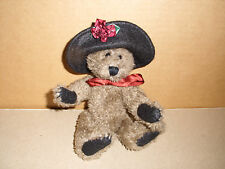Boyds Bears Plush Jointed 7 In Brown Bear With Black Hat Burgundy Rose 1990-97