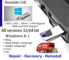USB 32GB & DVD Win 8.1 All Ver 32 & 64 bit Reinstall WITH DRIVERS INCLUDED