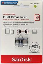 SanDisk 128 GB 128G Ultra Dual USB Drive OTG m3.0 micro USB Android USB 3.0