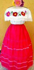 Peasant Mexico Off shoulder White/Pink Dress 2 pc Floral Embroidery folklorico