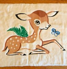 Vintage Baby Deer Fawn Butterfly White Plush Nursery Throw Rug 33� x 20� Retro