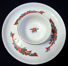 2 Pc Fairfield Fine China POINSETTiA & RIBBON CHIP & DIP Serving Set Christmas