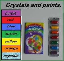 CRYSTALS AND 6 COLORS PAINTS FOR DYEING THE EASTER EGGS  ** PRIORITY DELIVERY **