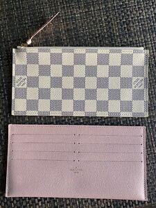 100% Authentic Louis Vuitton Felicie Pochette 2 INSERTS, Damier Azur + Rose