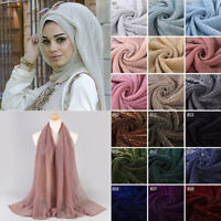 1x Fashion Women Gold Wire Islamic Muslim Hijab Lady Elasticity Wrap Shawl Scarf