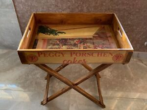 FAB 'VINTAGE' PEGGY PORSCHEN BUTLER'S TRAY TABLE + STURDY STAND VARNISHED WOOD