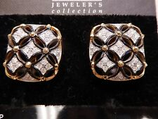 Signed Swarovski Earrings Crystal Black Enamel Gold Plated Clip