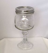 Ball Mason Glass Jar Goblet Wine Glass w/Decorative Stem & Lid.
