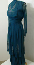 Vintage Edwardian Blue Chiffon Silk Hand Stitched Embroidered Panel LS Dress XS