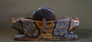 Rare Early 1900 Antique Korean Hand Carved HaiTai Tiger Herbal Medicine Grinder