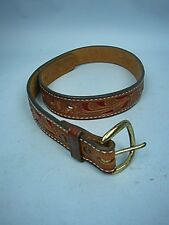 Tony Lama Hand Tooled Western Brown Leather Floral Motif Belt