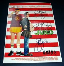 JUNO CAST x4 PP SIGNED MOVIE POSTER 12X8 ELLEN PAGE