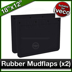"""IVECO 18"""" x 12"""" (460 x 305mm) Truck Lorry RUBBER MUDFLAPS Mud Flap Guard PAIR"""