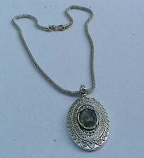 LOVELY DECORATED OVAL PENDANT  WITH CLEAR FACETED CRYSTAL STONE & CHUNKY CHAIN
