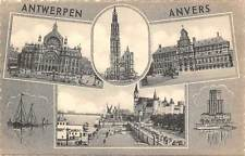 Belgium Antwerpen Anvers, Rathaus Town Hall Cathedral Harbour Boats Castle