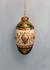 ORIGINAL FINE ART OIL PAINTING Green and Gold Filigree Egg Ornament L. Merchant