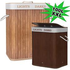 Wäschekorb Bambus Korb 100 L Wäschesammler Wäschebox Wäschesack Wäschetrenner