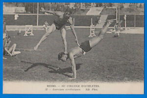Reims College  Athlets athletics muscle men gay int. old postcard