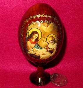 Egg Icon Wood CHRISTMAS NATIVITY Genuine Russian Virgin Mary Joseph BABY JESUS
