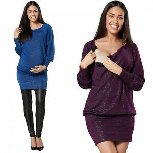 ZETA VILLE Women's Maternity Glitter Party Tunic Dress for Breastfeeding 1156