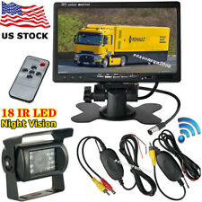 "Wireless 7"" LCD Monitor Car Rear View Kit + IR Reversing Camera for RV Bus Truck"