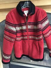 Women's Coldwater Creek Red Bavarian Style  Winter Coat Red Black Faux Fur Small